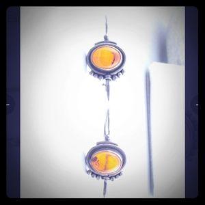 Vintage French Art Deco Sterling Amber Earrings